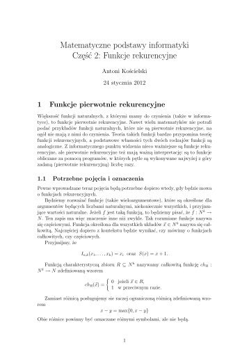 Matematyczne podstawy informatyki Część 2: Funkcje rekurencyjne