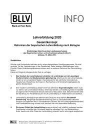 Lehrerbildung 2020 - BLLV