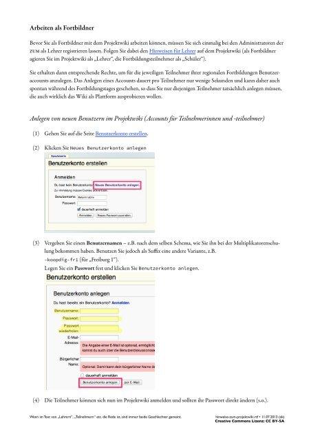 Hinweise zur Verwendung des ZUM Projektwikis