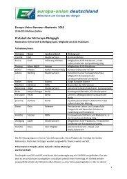 Protokoll der AG Europa-Pädagogik