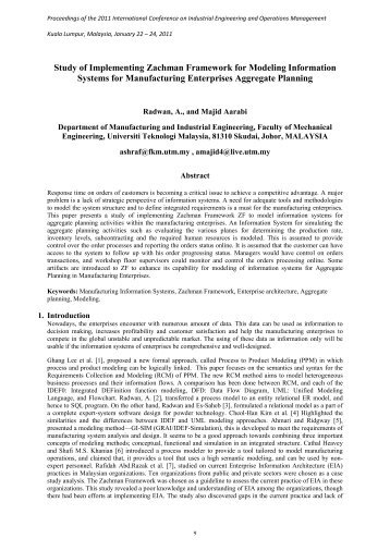 Study of Implementing Zachman Framework for Modeling ... - IEOM