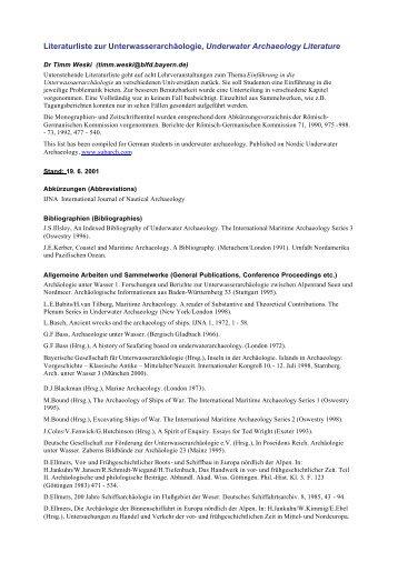 Literaturliste zur Unterwasserarchäologie, Underwater Archaeology ...