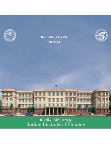 IIF Placement Brochure 2012 - Indian Institute of Finance