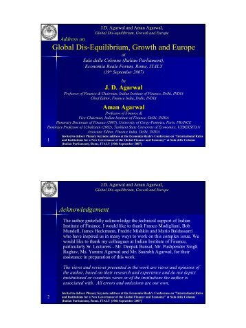 Global Dis-Equilibrium, Growth and Europe - Indian Institute of ...