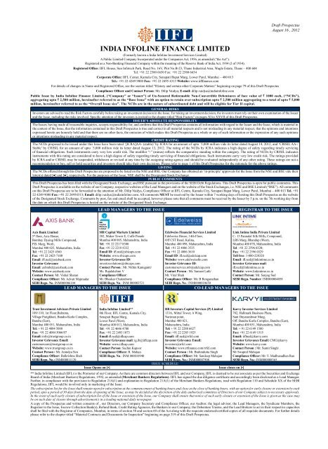 INDIA INFOLINE FINANCE LIMITED - Securities and Exchange