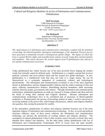 Cultural and Religious Identities in an Era of Information ... - the IIMA