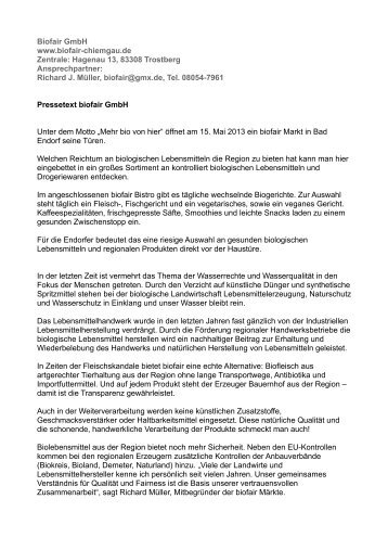 Biofair GmbH www.biofair-chiemgau.de Zentrale ... - Bad Endorf