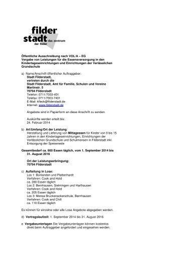 Mittagessensverpflegung in ... - Stadt Filderstadt