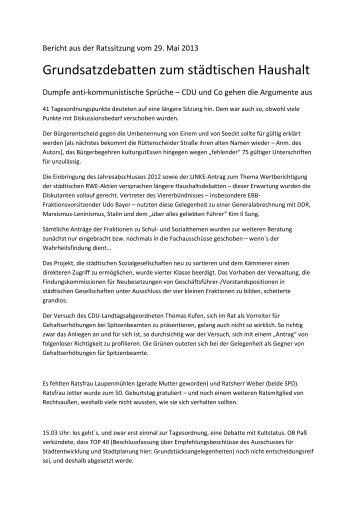 Grundsatzdebatten zum städtischen Haushalt - Die Linke NRW