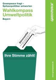 Wahlkompass Umweltpolitik Bayern 2013 | Greenpeace
