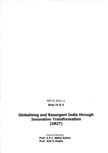 GRIT Course Material - Indian Institute of Management, Ahmedabad