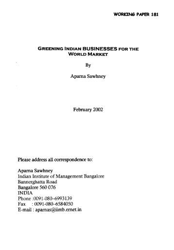Working Paper No : 181 - Indian Institute of Management Bangalore