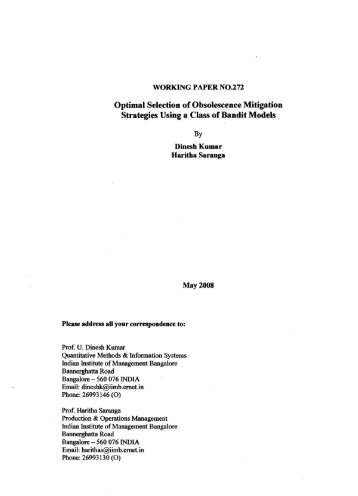 Working Paper No : 272 - Indian Institute of Management Bangalore
