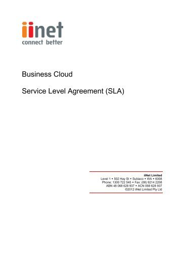 Onsite Sample Service Level Agreement Sla In Pdf Format  Cites