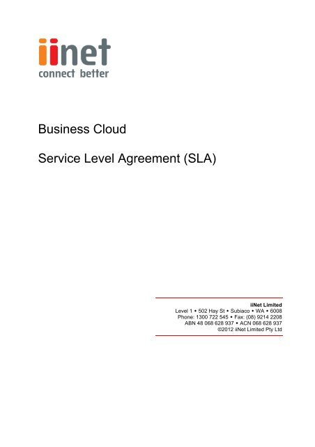 Business Service Level Agreement | Business Cloud Service Level Agreement Sla Iinet