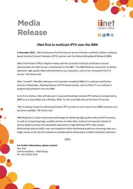 iiNet first to multicast IPTV over the NBN