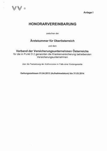 Anlage I Honorarvereinbarung 1.4.2011 - 31.3.2014 - Ärztekammer ...
