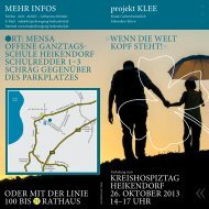 KREishospiZtAG hEiKEndoRf 26. oKtoBER 2013 14–17 UhR odER ...