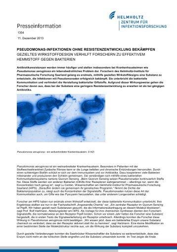 1354 Pseudomonas-Infektionen ohne Resistenzentwicklung ...