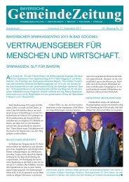 GZ-Sonderdruck: Sparkassentag 2013 - Bayerische Gemeindezeitung