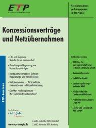 Konzessionsverträge und Netzübernahmen - IIR Deutschland GmbH