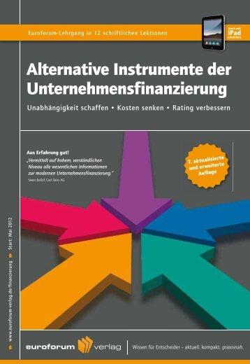 Alternative Instrumente der Unternehmensfinanzierung