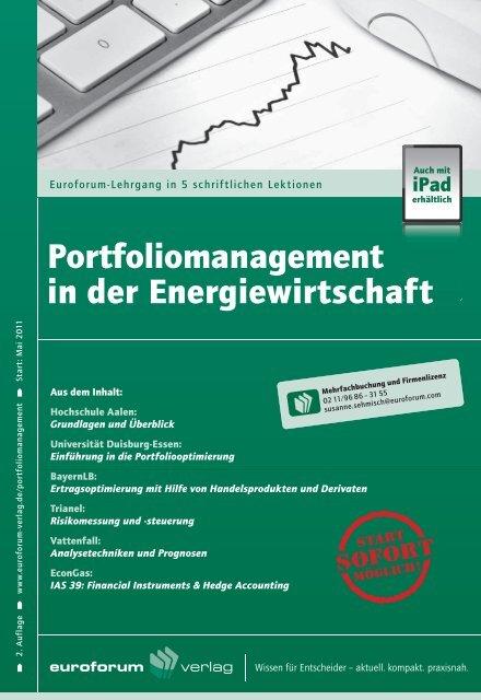 Portfoliomanagement in der Energiewirtschaft - IIR Deutschland GmbH