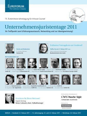 Unternehmensjuristentage 2011 - IIR Deutschland GmbH