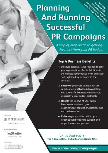 Planning And Running Successful PR Campaigns - IIR Middle East