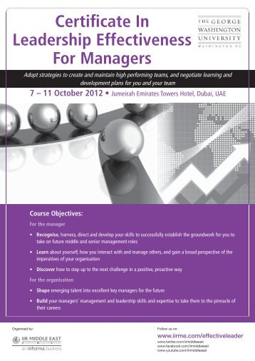 Certificate In Leadership Effectiveness For Managers - IIR Middle East