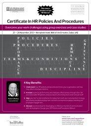 Certificate In HR Policies And Procedures - IIR Middle East
