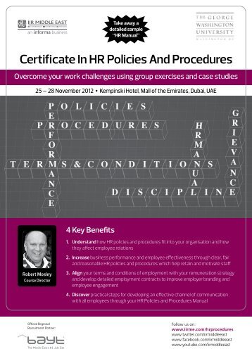 Certificate In HR Policies And Procedures - IIR Middle East