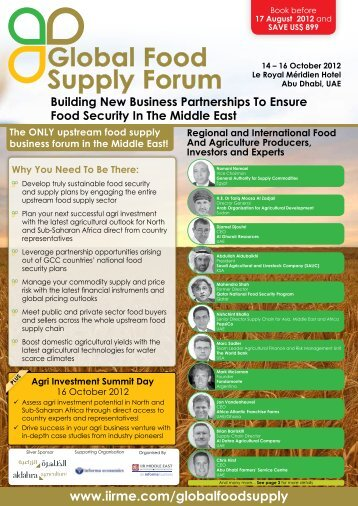 Global Food Supply Forum Global Food Supply ... - IIR Middle East