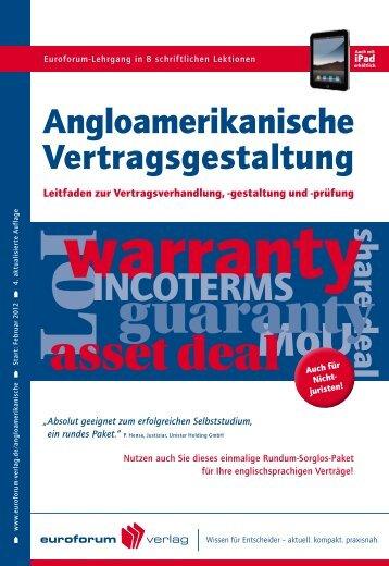 Angloamerikanische Vertragsgestaltung - IIR Deutschland GmbH