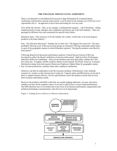 THE STRATEGIC SERVICE LEVEL AGREEMENT There is an