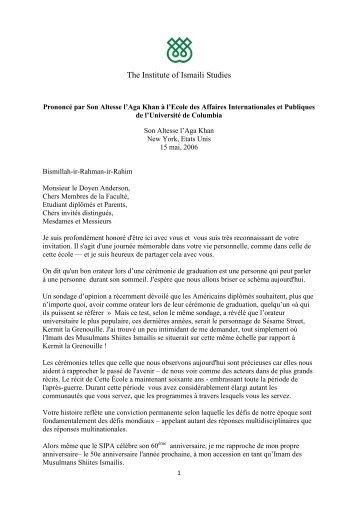 Telecharger la version PDF du discours - The Institute of Ismaili ...