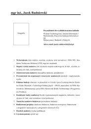 mgr inż. Jacek Rudniewski - Instytut Informatyki i Mechatroniki