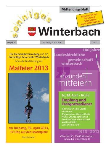 Mitteilungsblatt KW 17/2013 - Gemeinde Winterbach