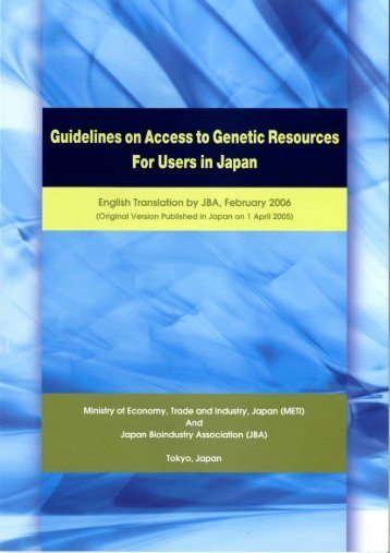 Guidelines on Access to Genetic Resources For Users in Japan