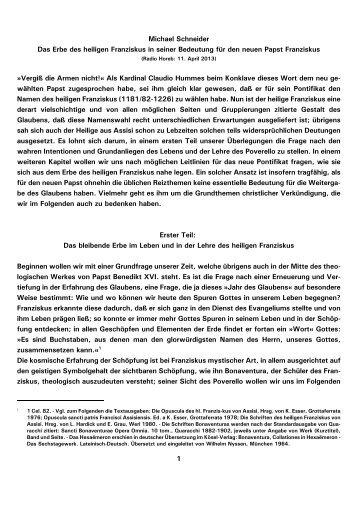 1 Michael Schneider Das Erbe des heiligen Franziskus in ... - Kath.de