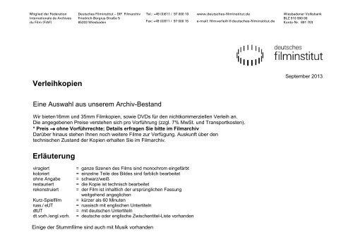 Verleihprogramm (PDF, 1 MB) - Deutsches Filminstitut