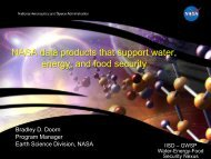 NASA Data Products That Support Water, Energy and Food Security