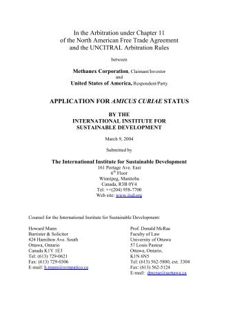 Application for Amicus Curiae Status - International Institute for ...