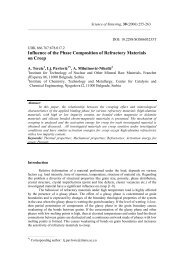 Influence of the phase composition of refractory materials on creep