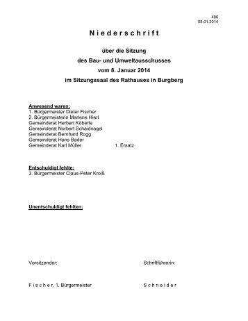 08.01.2014 Niederschrift Bau- und Umweltausschuss - Burgberg