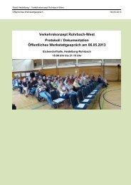 Protokoll öffentliches Werkstattgespräch am ... - Stadt Heidelberg
