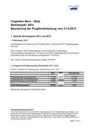 Bericht Fluglärmbelastung 2012 - Bern-Belp