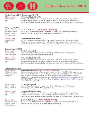 Undergraduate August Orientation 2013 - Illinois Institute of ...