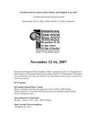INTERNATIONAL EDUCATION WEEK: NOVEMBER 12-16, 2007