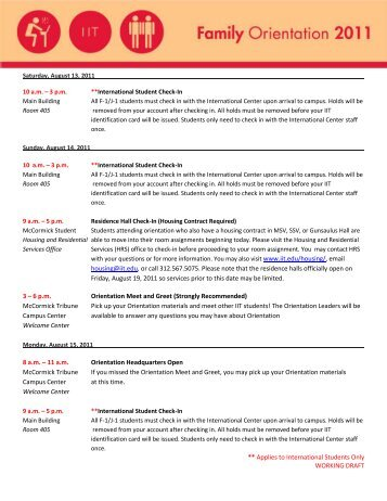 Student Orientation 2011 - Illinois Institute of Technology